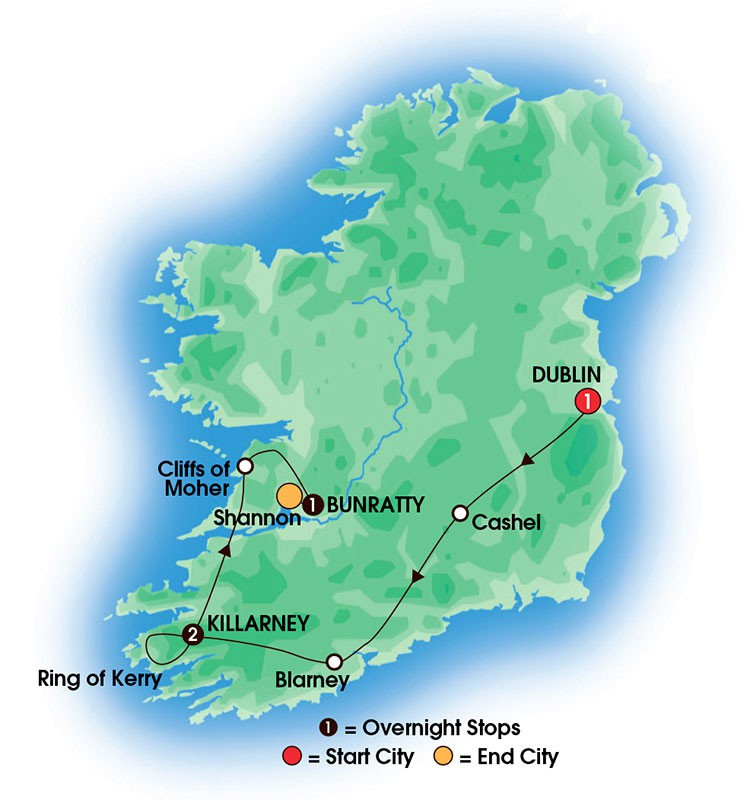 2017 5 Day Taste Of Ireland map of the tour