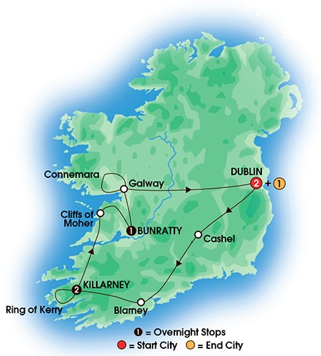 6 Day Taste Of Ireland COACH TOUR MAP