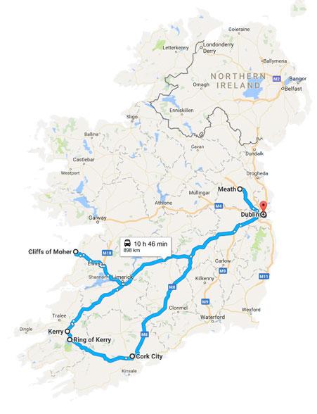 2018 tour - 6 Day Flavour of Ireland - tour map