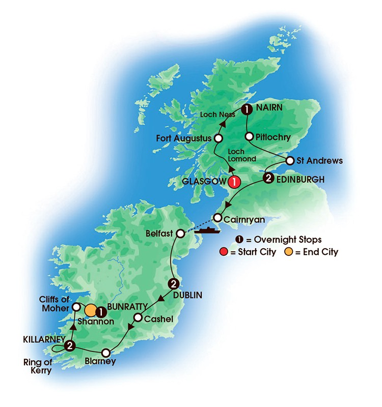 10 Day Taste of Scotland and Ireland, map