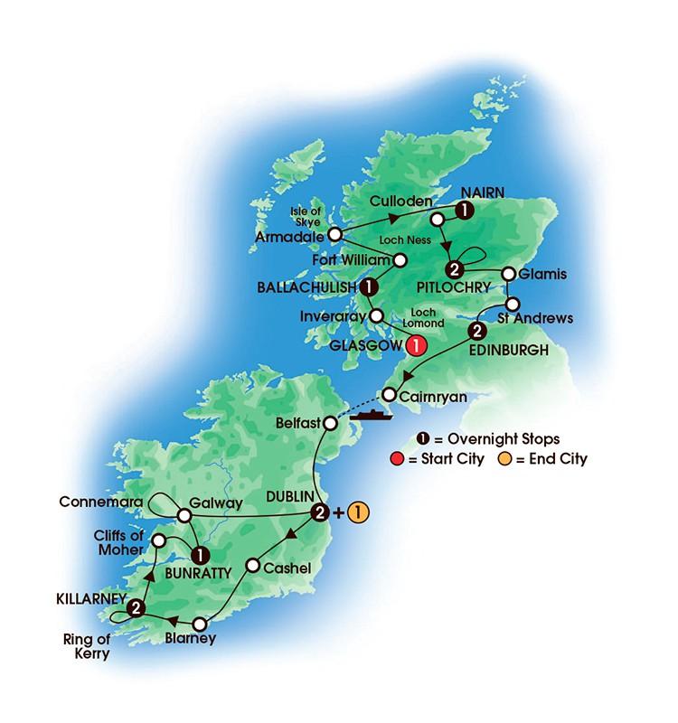 14 Day Scottish & Irish Dream tour map