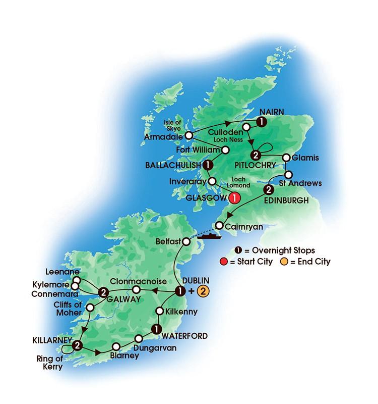 16 Day Scottish and Irish Gold map