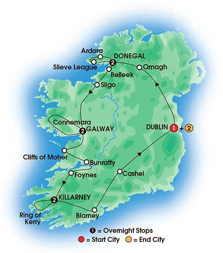 10 Day Chauffeur Irish Explorer - Private Escorted Tours Love Irish Tours tour map