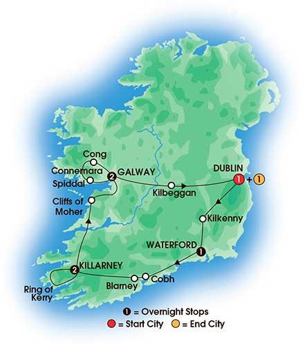 8 Day Irish Spirit - Tour Map