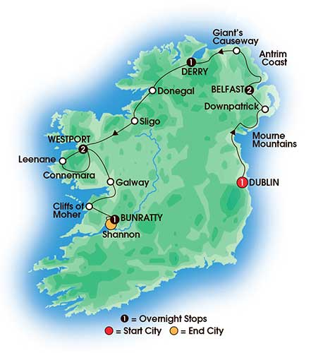 8 Day Mystical Ireland - tour map
