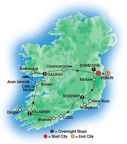 9 Day Irish Legends - tour map
