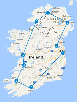 Self Drive 14 Day - Ireland's Full loop Tour map