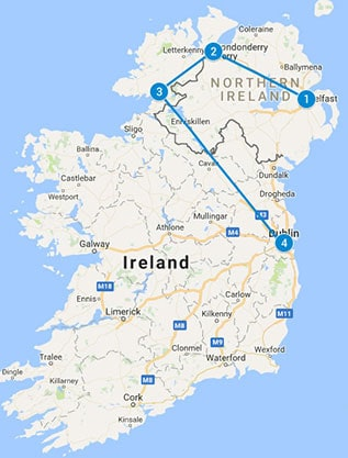Self Drive TOUR 7 Day - Northern Ireland Tour map
