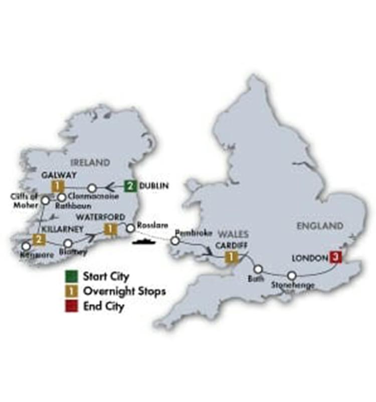 10 Day Irish & British Focus tour map