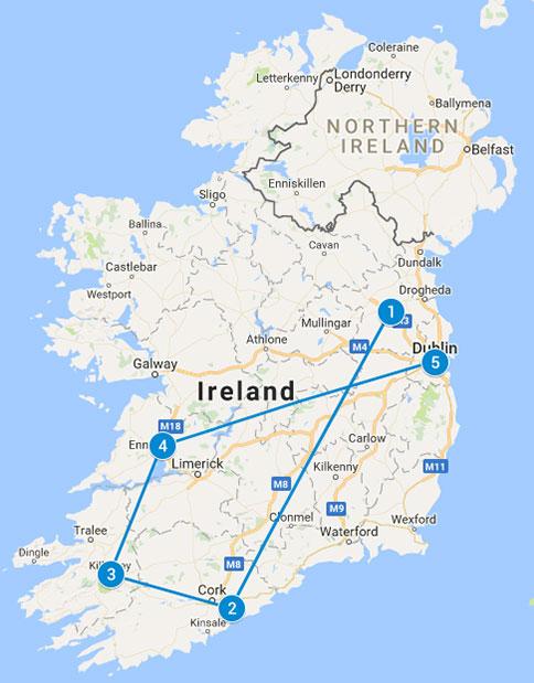 6 Flavour of Ireland Tour 2020 tour map
