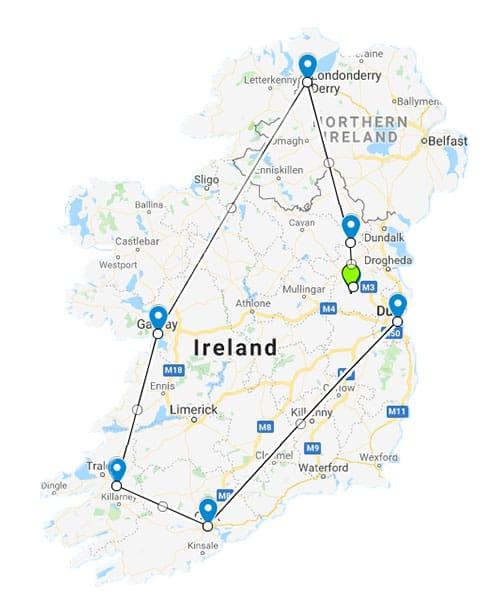 12 Day Irish Odyssey tour map
