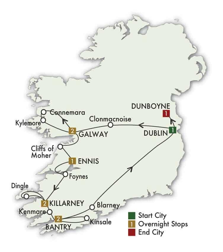 10 Day Elegant Ireland tour map
