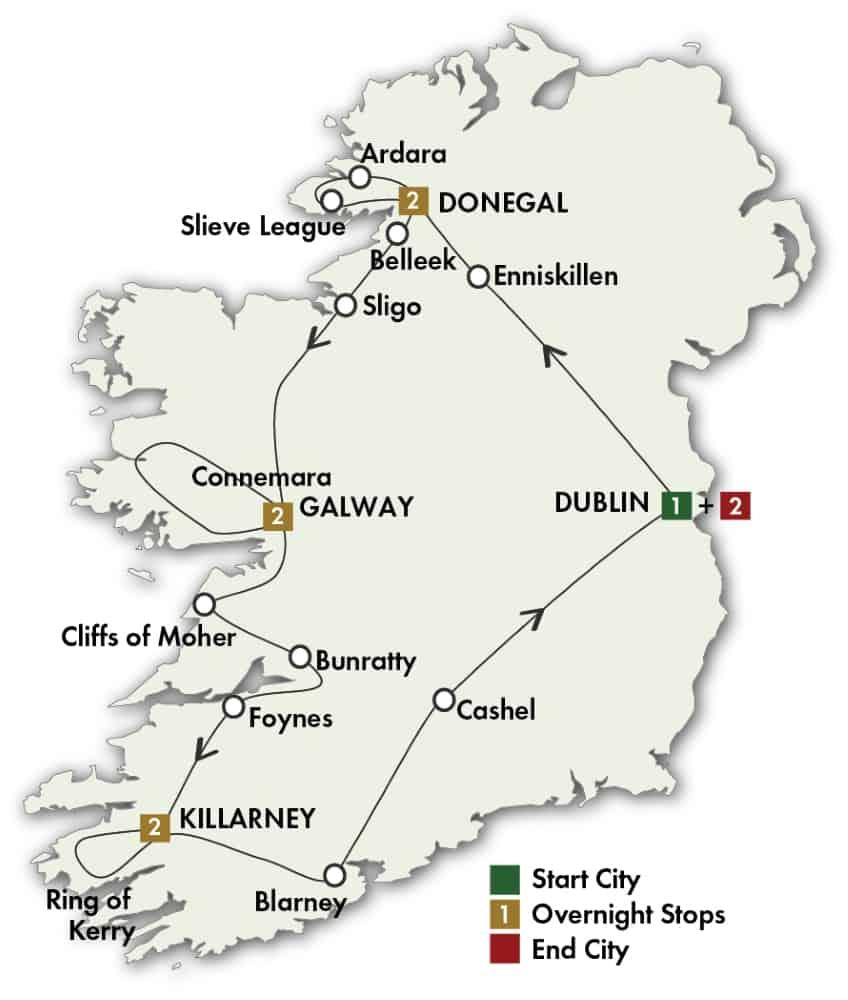 10 Day Irish Explorer tour map