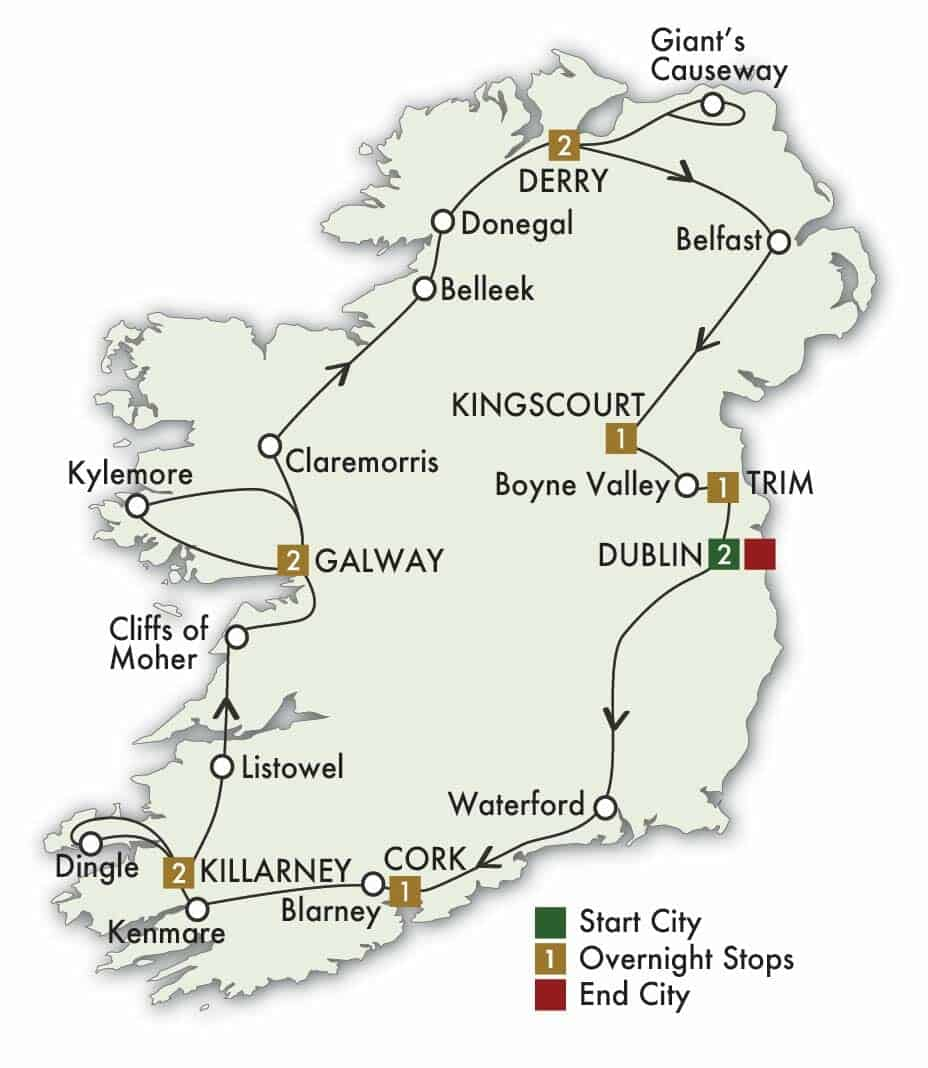 12 Day Irish Odyssey tour map