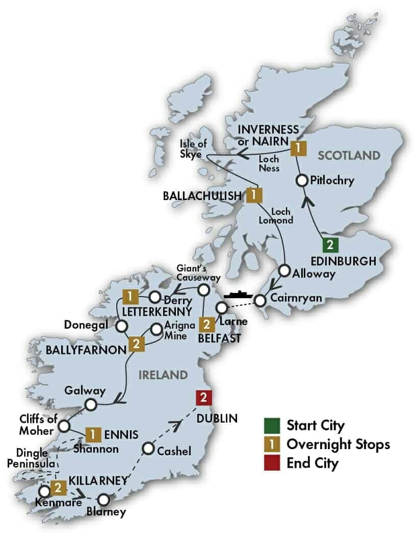 15 Day The Scots Irish Tour map