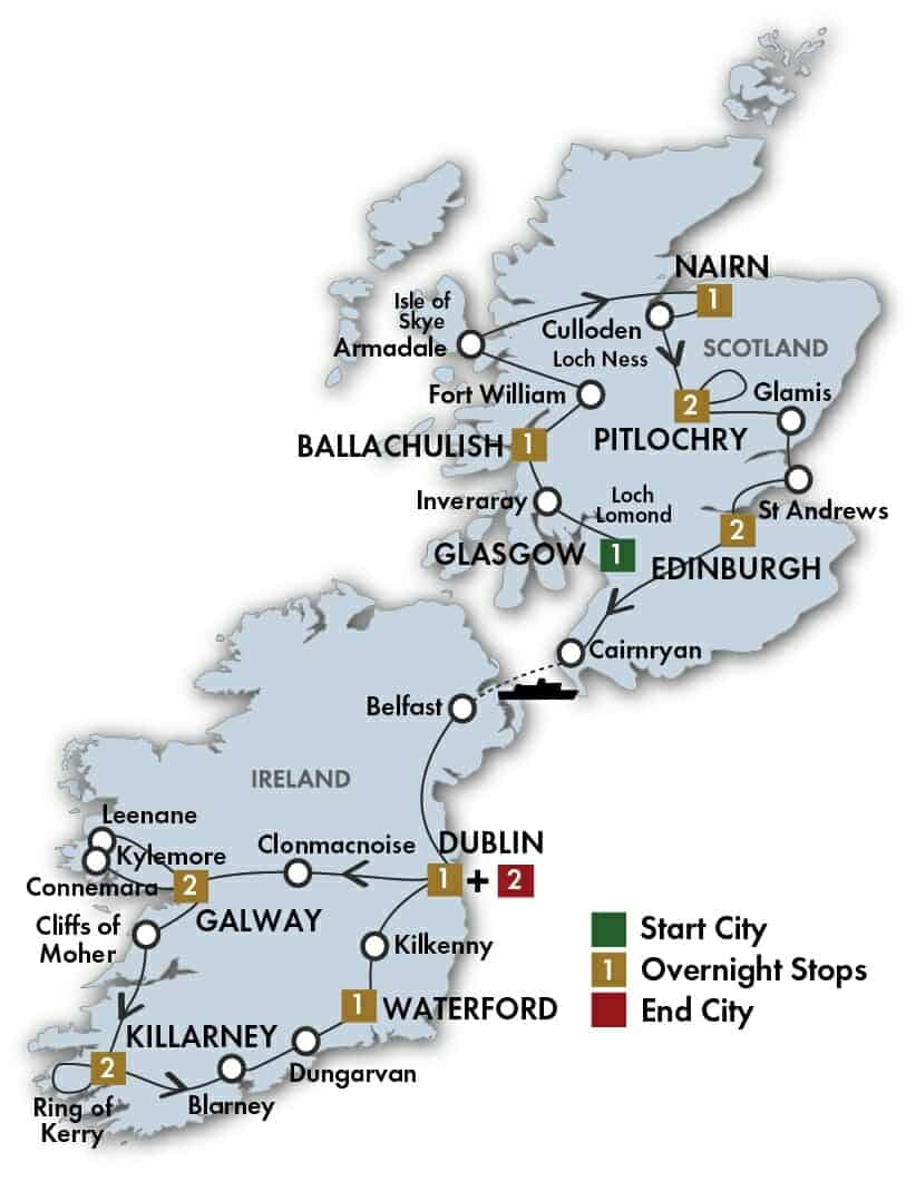 16 Day Scottish & Irish Gold tour map