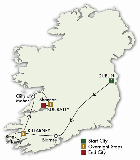 5 Day Taste of Ireland map
