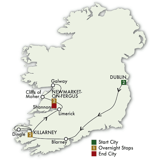 7 Day Best Of Ireland South tour map
