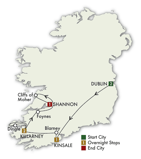 7 Day Southern Gems tour map
