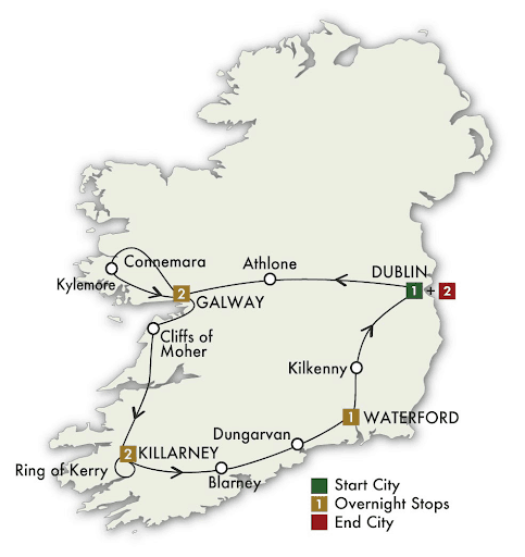 8 Day Irish Gold tour map