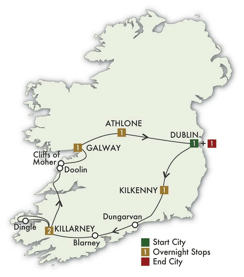 8 Day Irish Pub Tour map