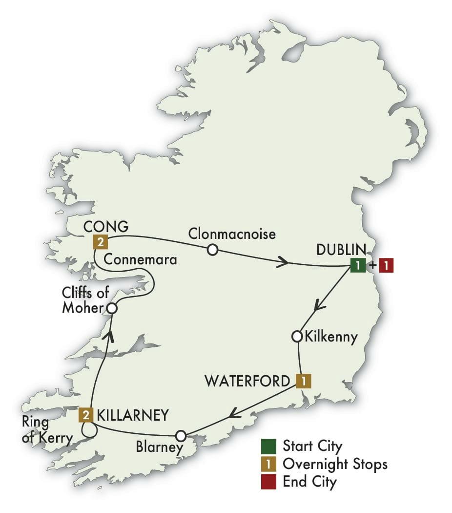 8 Day Irish Spirit tour map