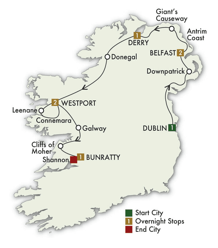 8 Day Mystical Ireland Tour map