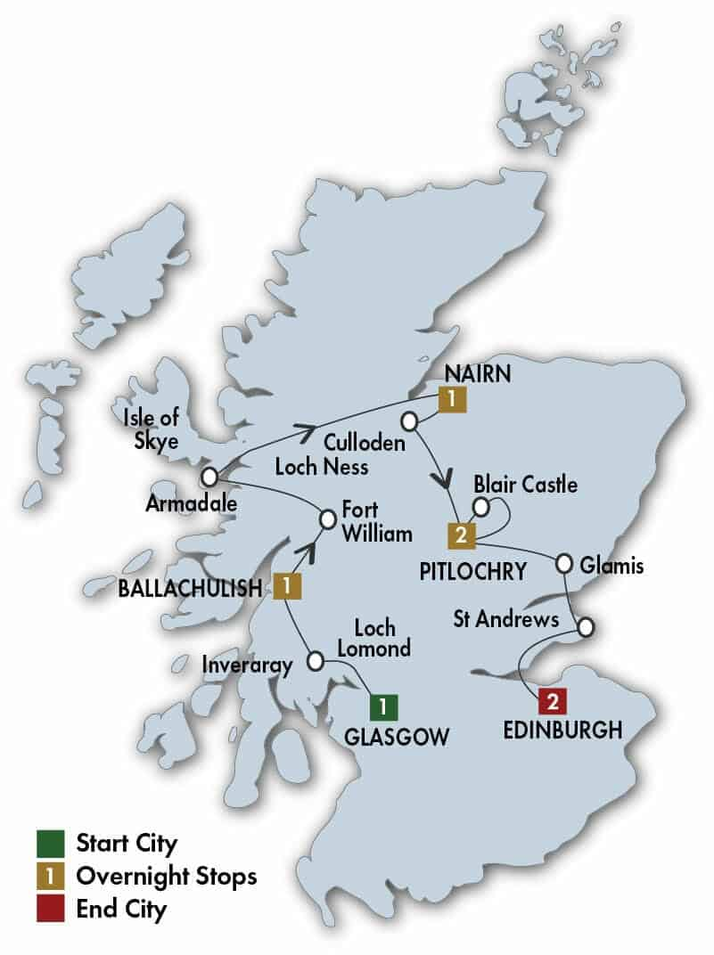 8 Day Scottish Dream tour map