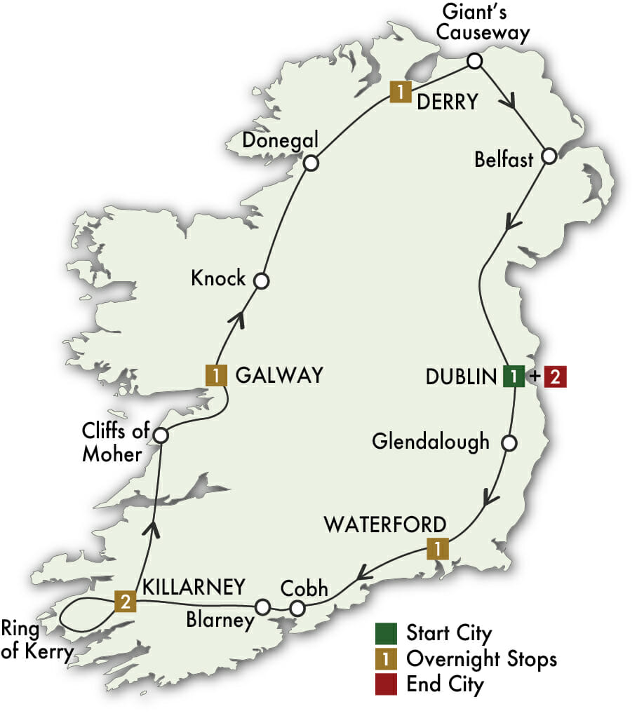 9 Day Irish Adventure tour map